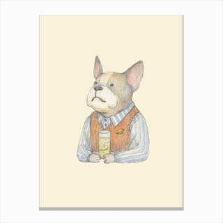 French Bulldog And Gin Tonic Canvas Print