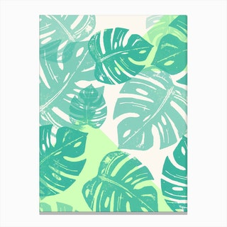 Linocut Monstera Green in Canvas Print