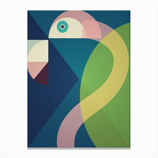 Mid Century Geometric Big Flamingo Canvas Print