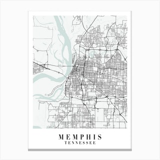 Memphis Tennessee Street Map Minimal Color Canvas Print