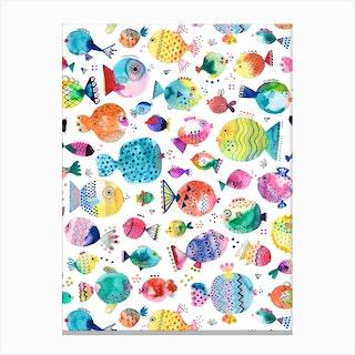Cute Puffer Fishes Watercolor Multi Canvas Print