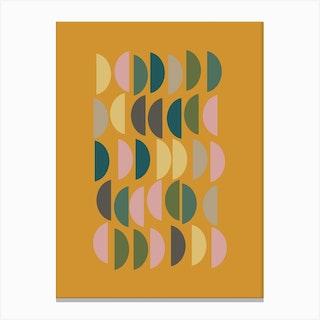 Half Circles In Mustard Canvas Print