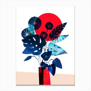 Blue Flowers In Red Vase Canvas Print