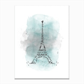 Watercolor Art Eiffel Tower - Turquoise Canvas Print