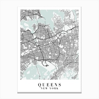 Queens New York Street Map Minimal Color Canvas Print