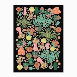 Neon Vases Canvas Print