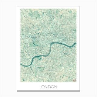 London Map Vintage in Blue Canvas Print