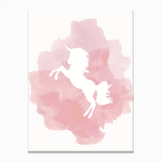 Unicorn Pink Watercolour Canvas Print