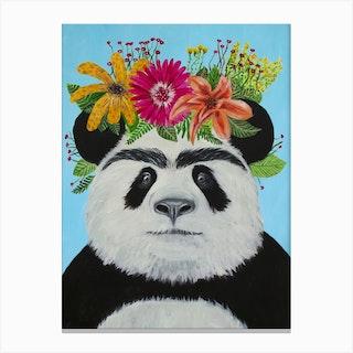 Frida Kahlo Panda Canvas Print