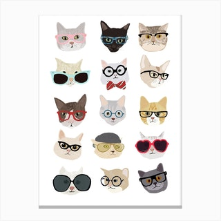 Cats With Glasses Canvas Print