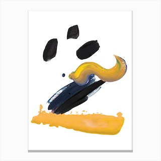 Realistic Mustard and Black Paint Stroked Canvas Print