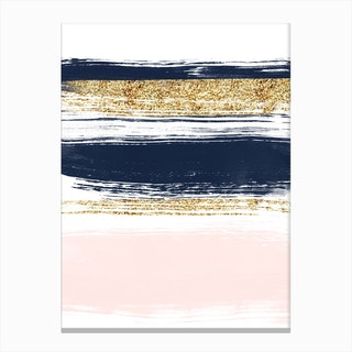 Gold, Blue and Pink Strokes Canvas Print