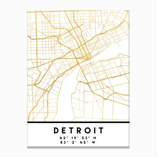 Detroit Michigan City Street Map Canvas Print