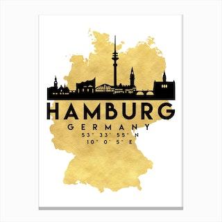 Hamburg Germany Silhouette City Skyline Map Canvas Print