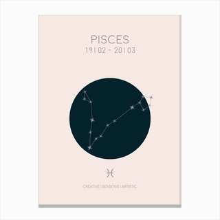 Pisces Star Sign In Light Canvas Print