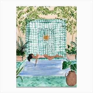 Poolside Siesta Canvas Print