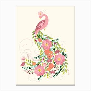 Floral Peacock Canvas Print
