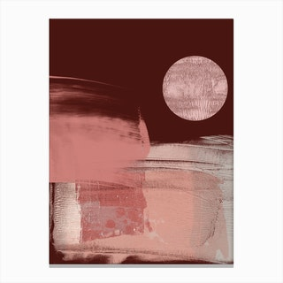 Abstract Maroon Pink With Disc Canvas Print