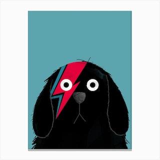 Dog Bowie Black Canvas Print
