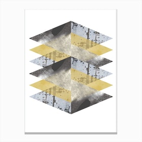 Scruff Yellows and Grey Abstract Canvas Print
