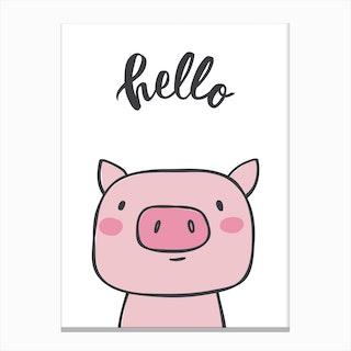 Hello Pig Canvas Print
