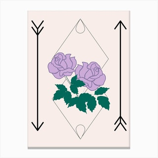 Purple Rose And Arrows Canvas Print