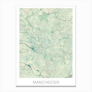 Manchester Map Vintage in Blue Canvas Print