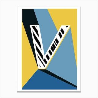 V Geometric Font Canvas Print