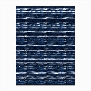 Electric Lines Navy Canvas Print