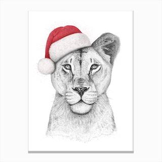 Christmas Lioness Canvas Print