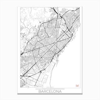 Barcelona Map Minimal Canvas Print