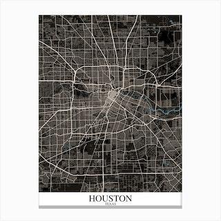 Houston Texas Black Blue Canvas Print