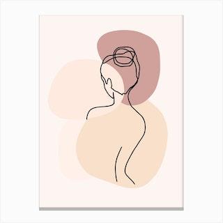Minimal Line Art Backside Beautiful Woman Canvas Print