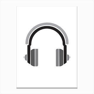 Headphones Bandw Canvas Print