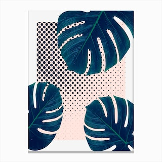 Silk Palm Dots Canvas Print