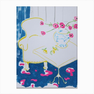 Reading Nook With Flowers Canvas Print
