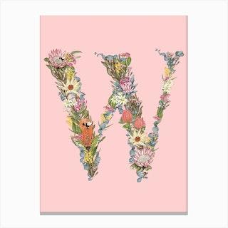 W Pink Alphabet Letter Canvas Print