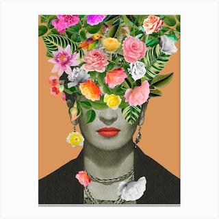 Frida Kahlo Floral Orange Canvas Print