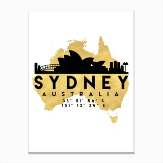 Sydney Australia Silhouette City Skyline Map Canvas Print
