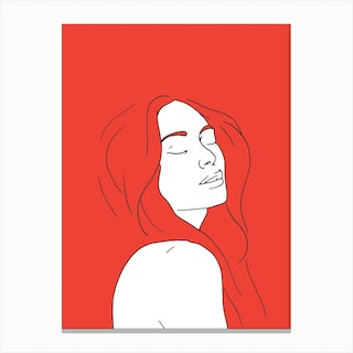 Woman In Reverie Red Canvas Print
