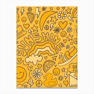 Yellow Print Canvas Print