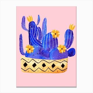 Golden Pot And Cactus Composition Canvas Print
