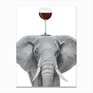 Elephant With Wineglass Canvas Print