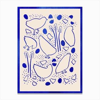 Blue Hens Canvas Print