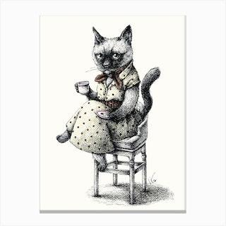 Portrait Of Lady Cat Canvas Print