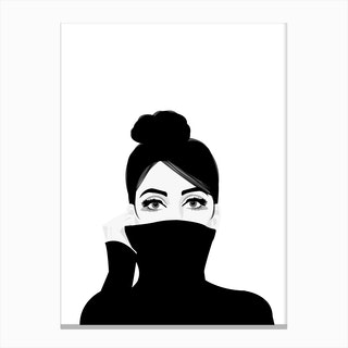 Girl in Turtleneck Canvas Print
