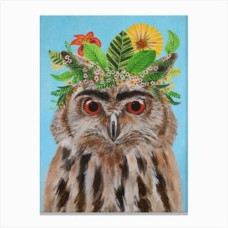 Frida Kahlo Owl Canvas Print