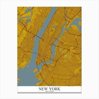 New York New York Yellow Blue Canvas Print