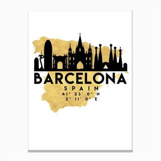 Barcelona Spain Silhouette City Skyline Map Canvas Print