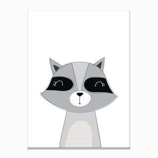 Scandi Cute Raccoon Canvas Print